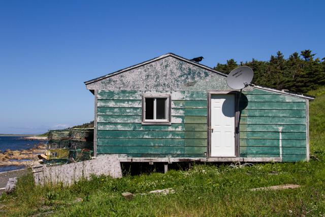 Fishing shack and satellite dish