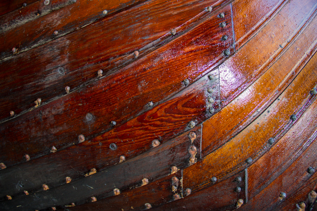 Skorra: hull construction detail. Pine tar and sheep's wool was used for cailking