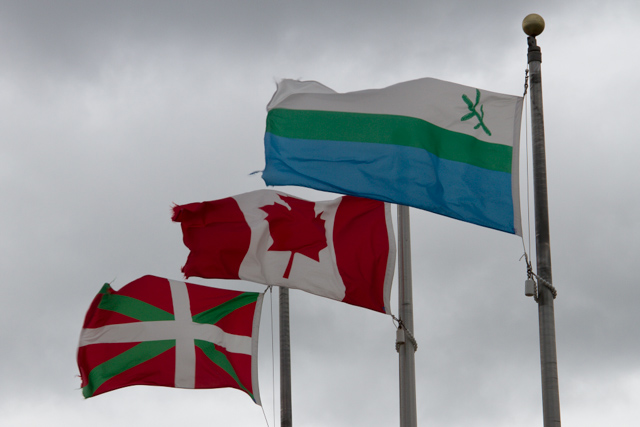 Three flags at the site: Basque, Canada, Labrador, soon to be joined by the United Nations flag
