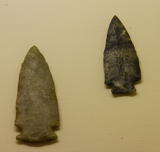 Spear points, Archaic period (Thanks to the Labrador Straits Museum, L'Anse Amour, for allowing me to photograph these)