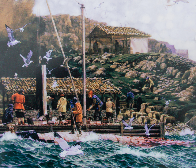 "Artist's conception: Rendering whale oil in a ""Trayworks"" structure (From and interpretive panel on Saddle Island)"