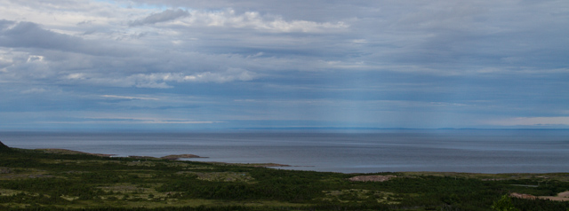 'Light spouts' on the sea: Newfoundland is visible across the strait.